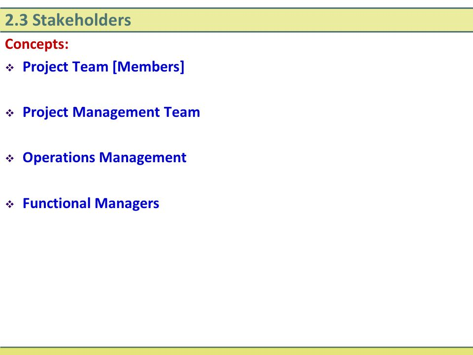 2.3 Stakeholders Concepts: Project Team [Members]